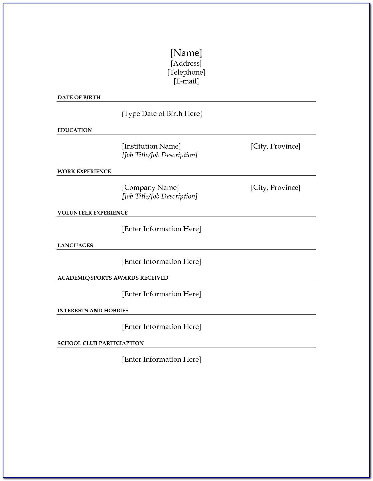 Free Fill In The Blank Resume Templates