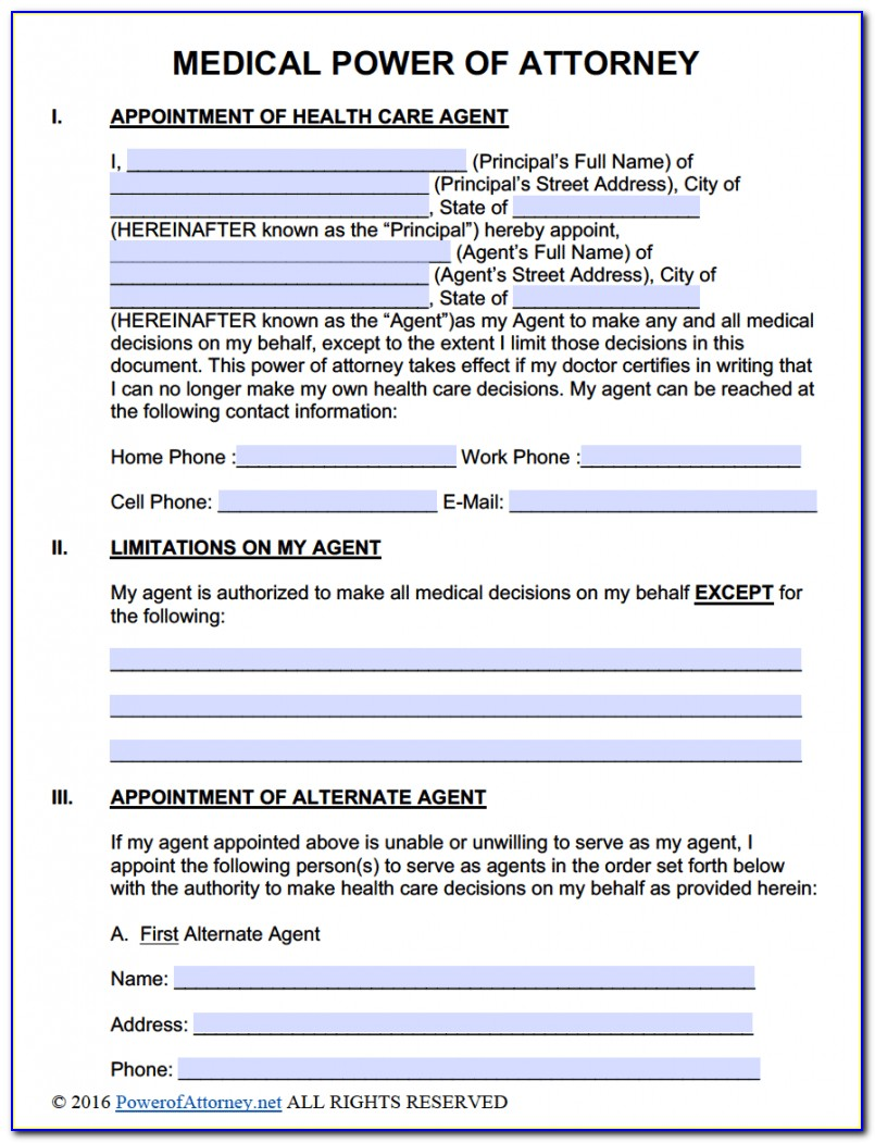 Free Fillable Durable Power Of Attorney Form