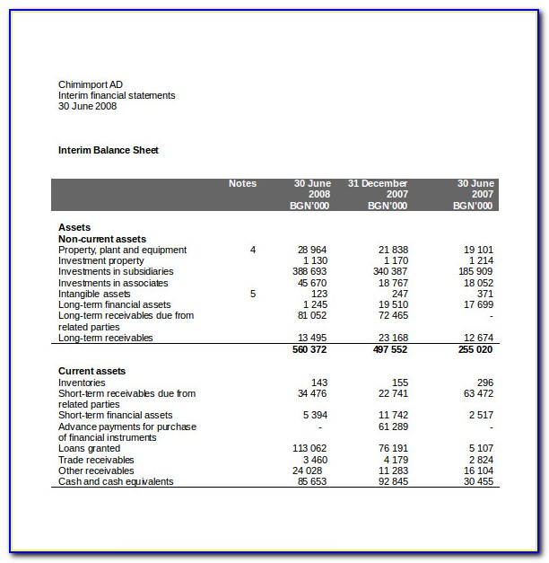 Free Financial Statement Template Word