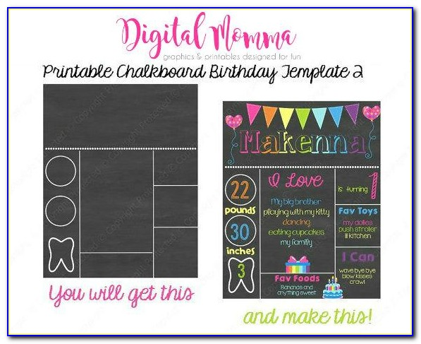 Free First Birthday Chalkboard Sign Template