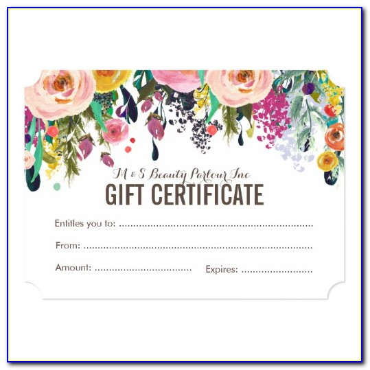 Free Floral Gift Certificate Template