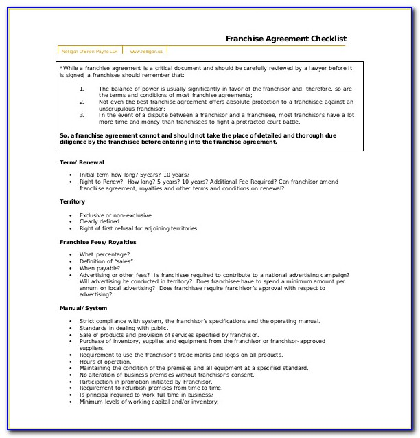 Free Franchise Agreement Template Pdf