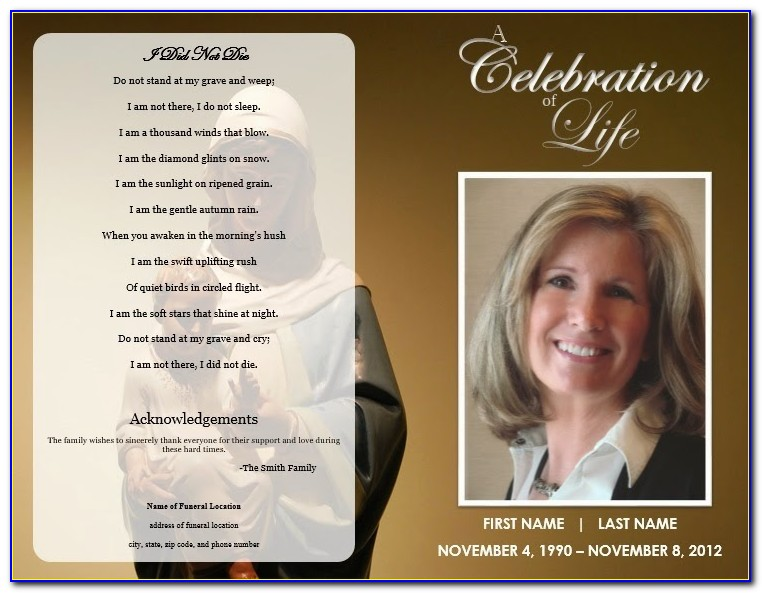 Free Funeral Program Templates For Pages