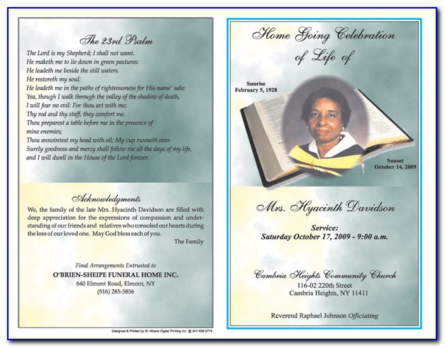 Free Funeral Service Program Template Word