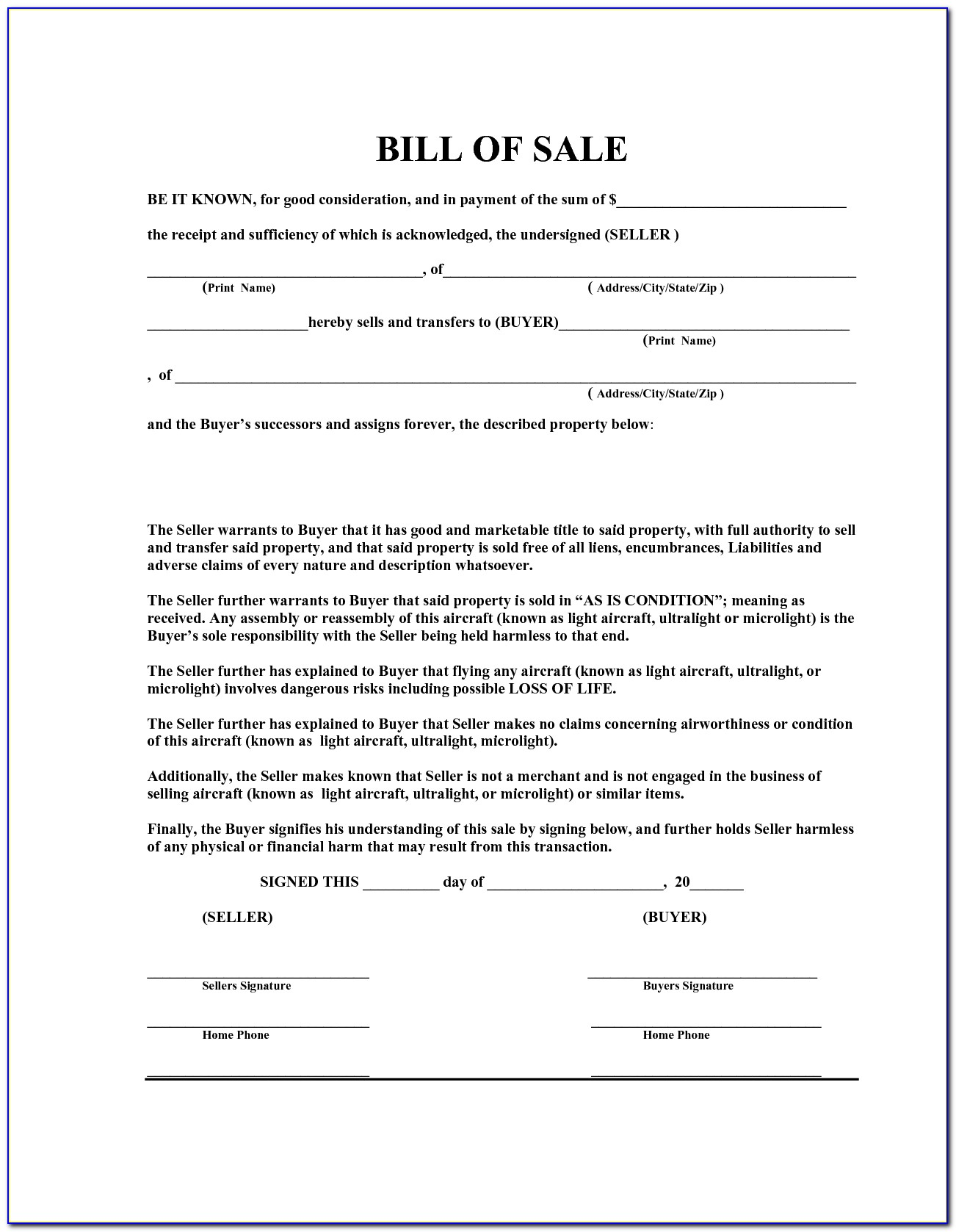Free General Bill Of Sale Template Word
