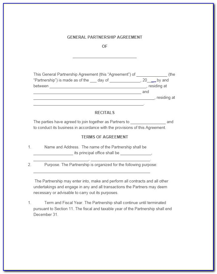 Free General Partnership Agreement Form
