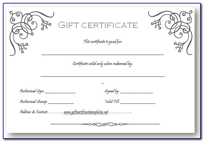 Free Gift Certificate Template For Restaurant