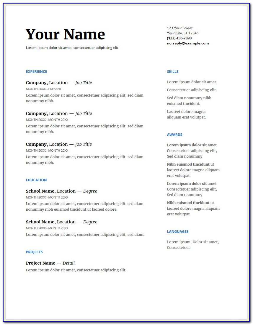 Free Google Docs Resume Templates