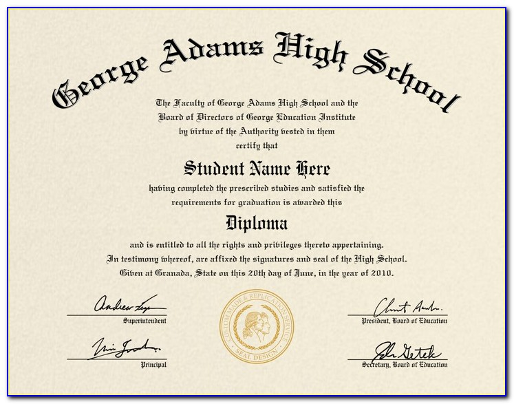 Free High School Diploma Certificate Template