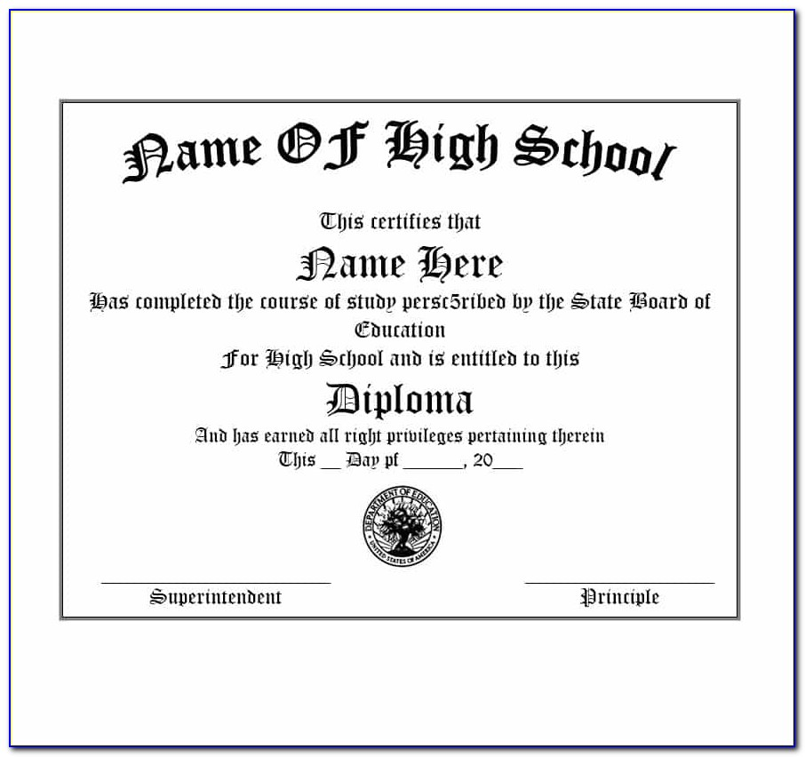 Free High School Diploma Template Online