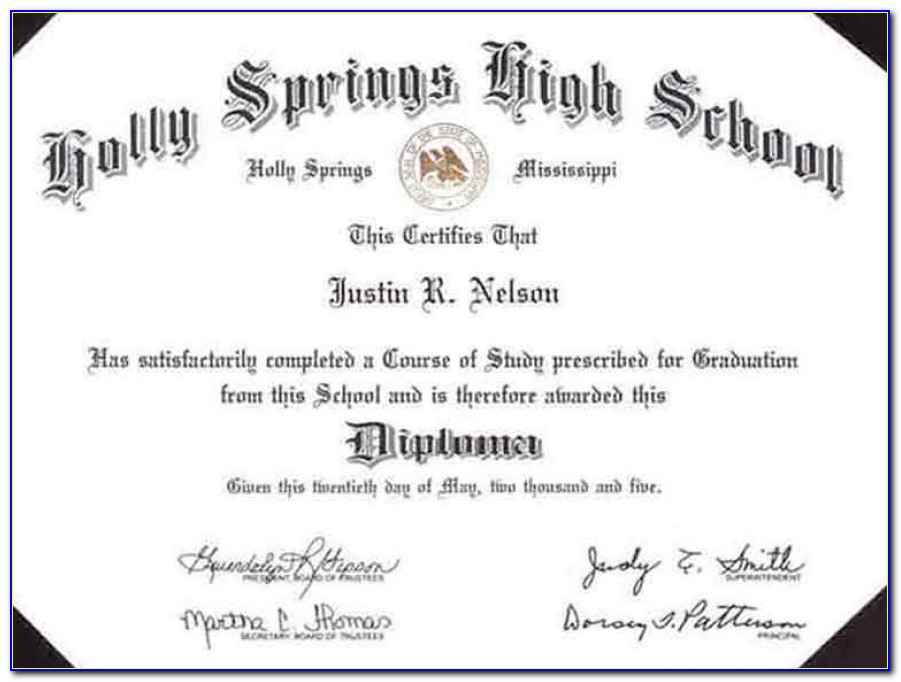 Free High School Diploma Template Word