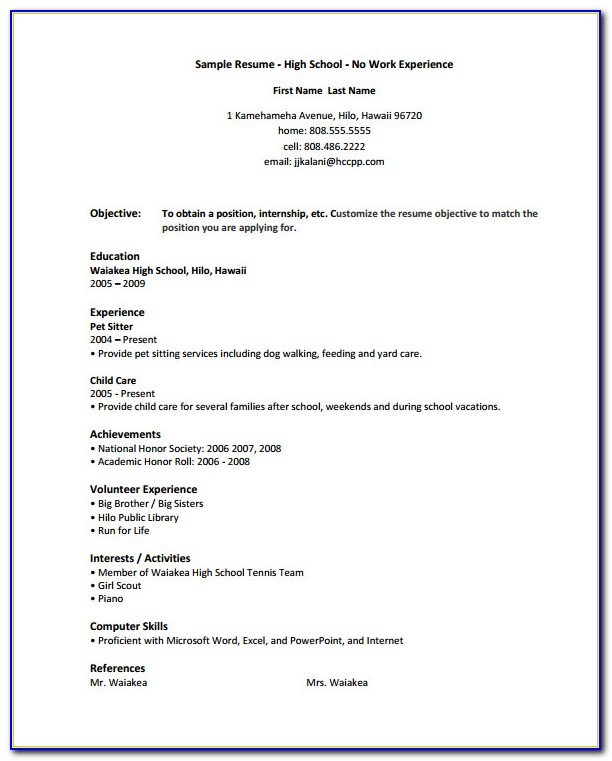 Free High School Resume For College Template