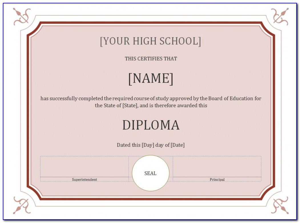 Free Homeschool High School Diploma Template