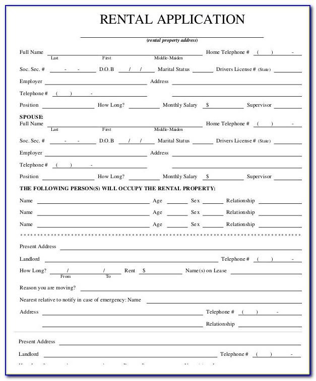 Free House Rental Application Form Template