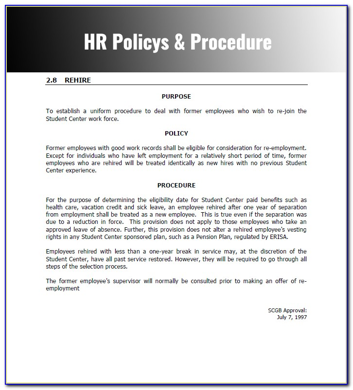 Free Hr Policy And Procedure Manual Template