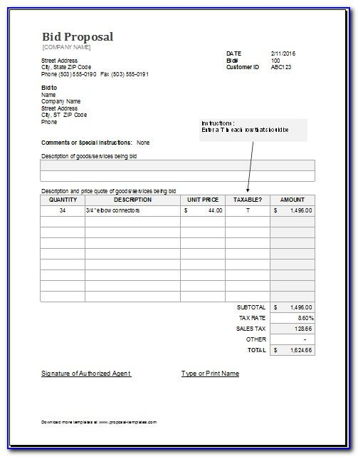 Free Hvac Bid Proposal Template Vincegray2014