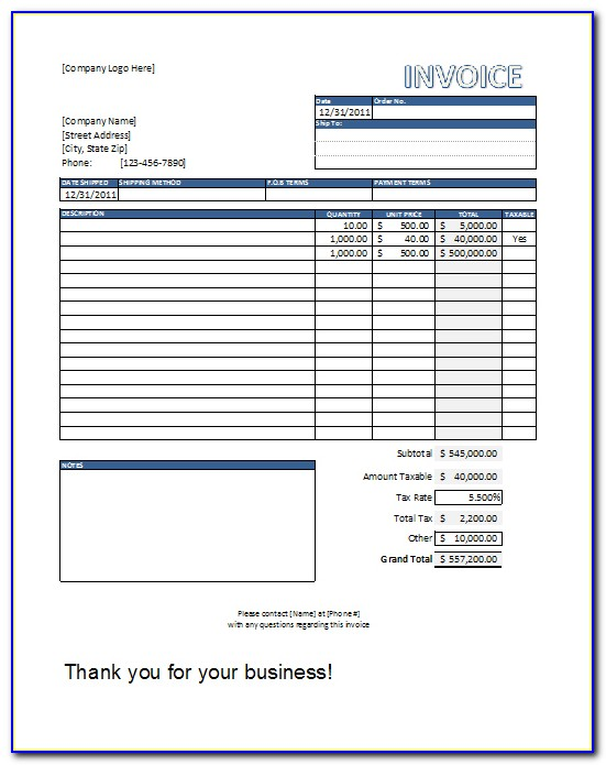 Free Invoice Template Excel South Africa
