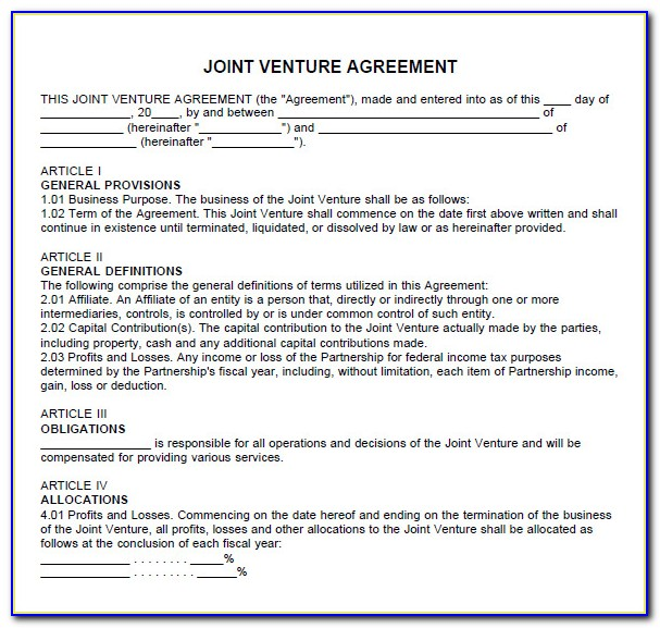 Free Joint Venture Partnership Agreement Template