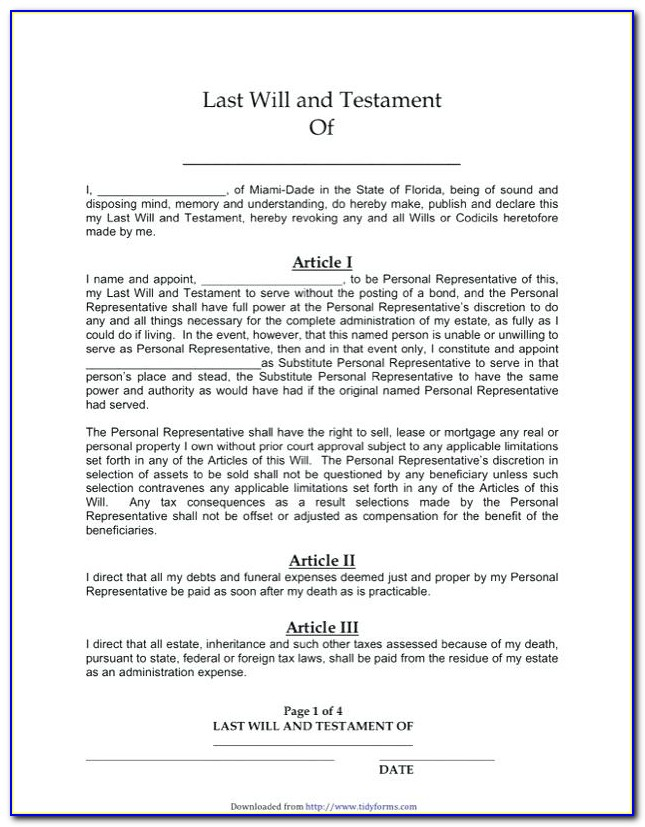 Free Joint Will And Testament Template