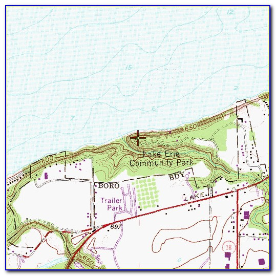 Free Lake Erie Topographic Map