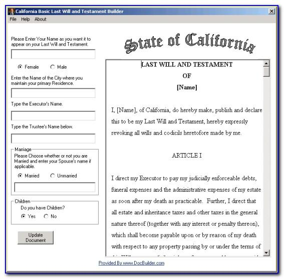 Free Last Will And Testament Forms California