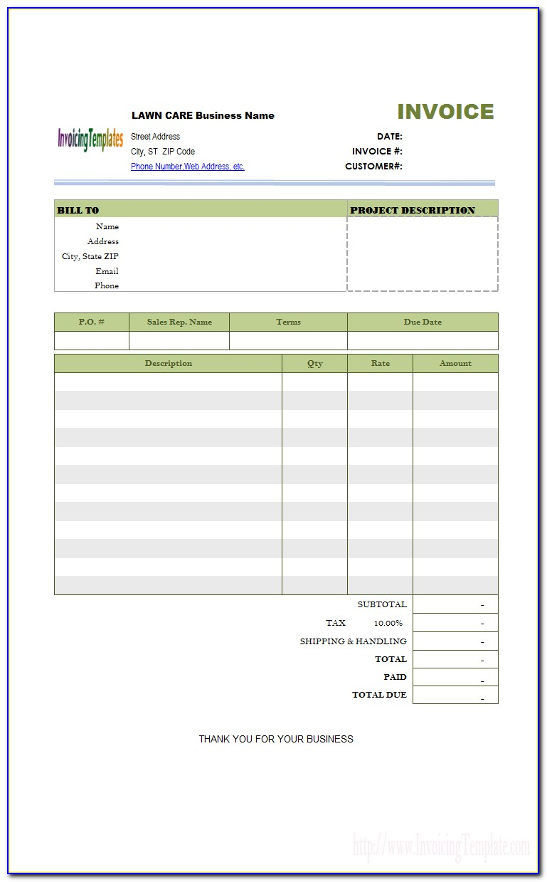 Free Lawn Care Receipt Template
