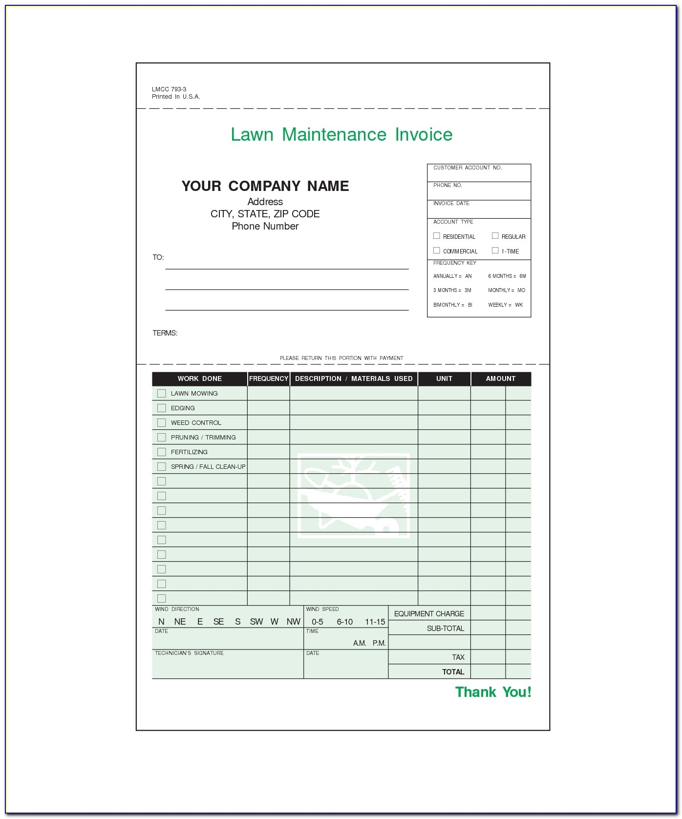 Lawn Care Invoices Invoice Template Free 2016 Lawn Maintenance Invoice