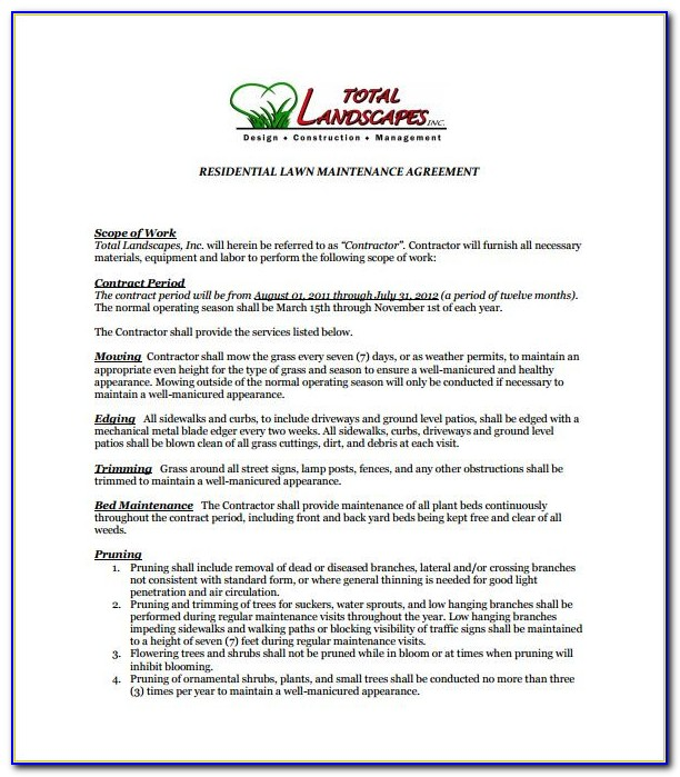 Free Lawn Mowing Contract Template