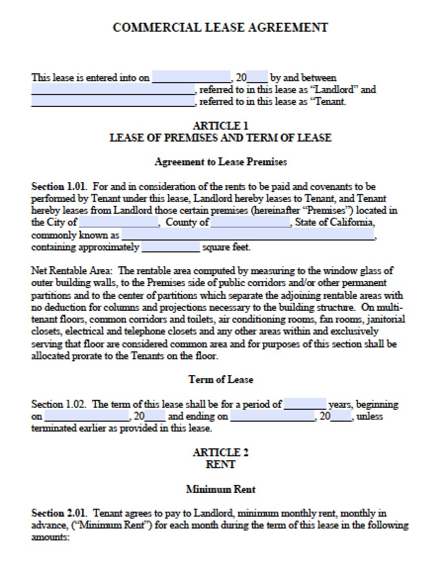Ca Commercial Lease Agreement Fresh Free California Mercial Lease Agreement Pdf