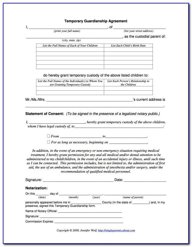 Free Legal Form For Guardianship Of A Child In Case Of Death