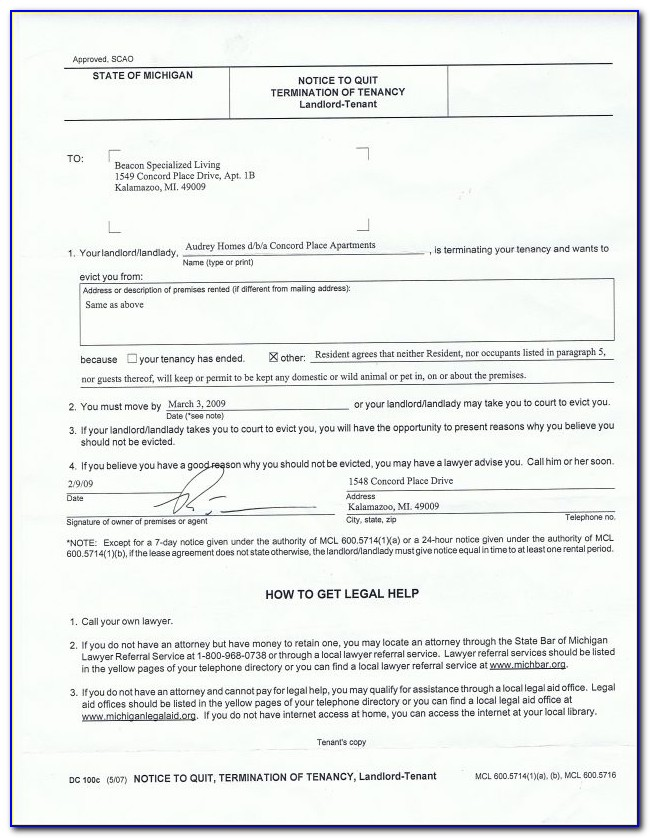 Free Legal Forms Eviction Notice