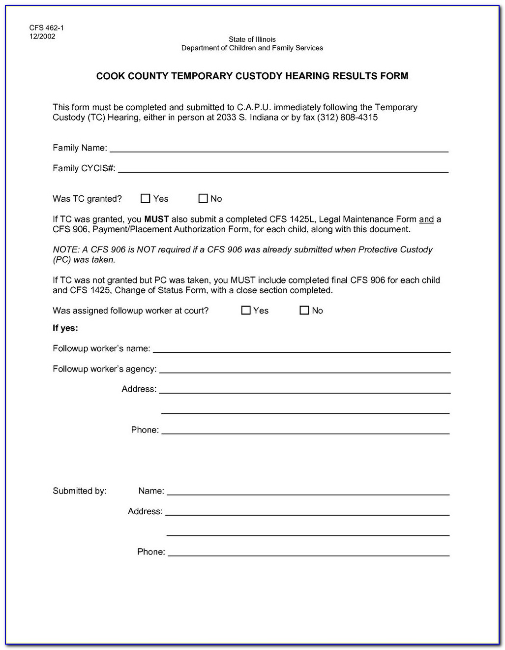 Free Legal Forms For Temporary Child Custody