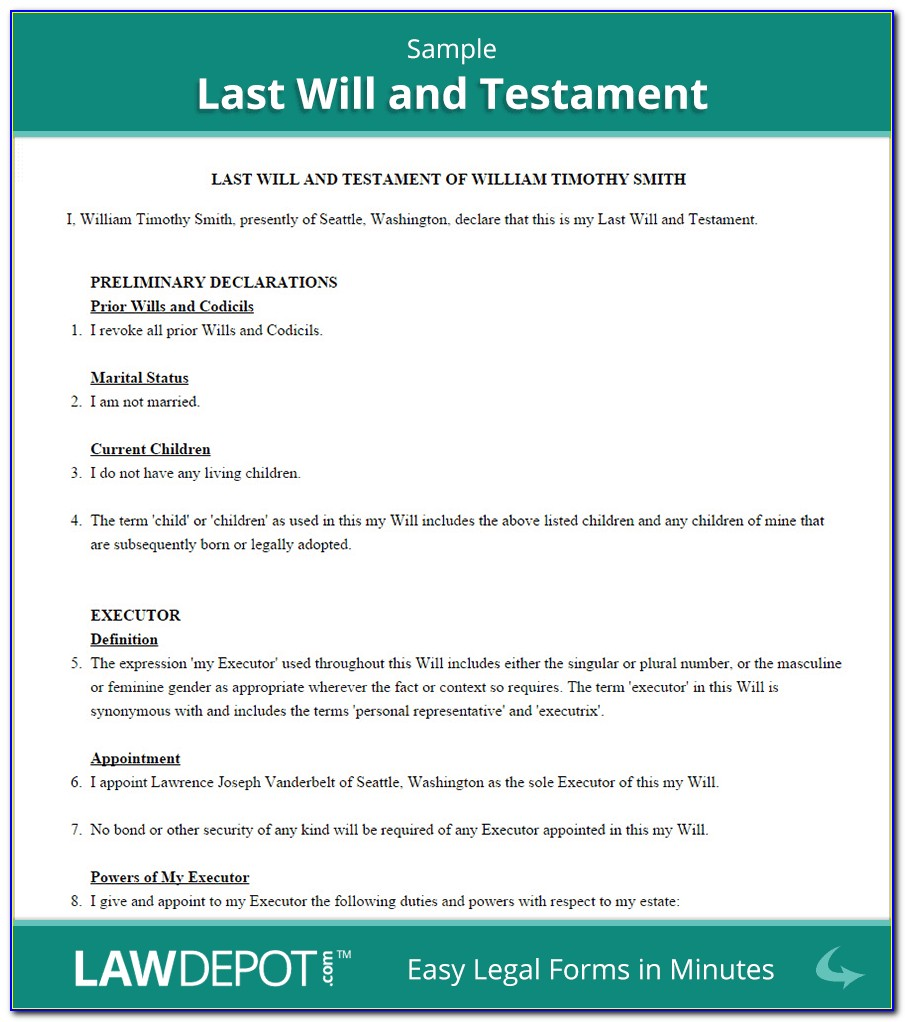 Free Legal Forms Last Will And Testament