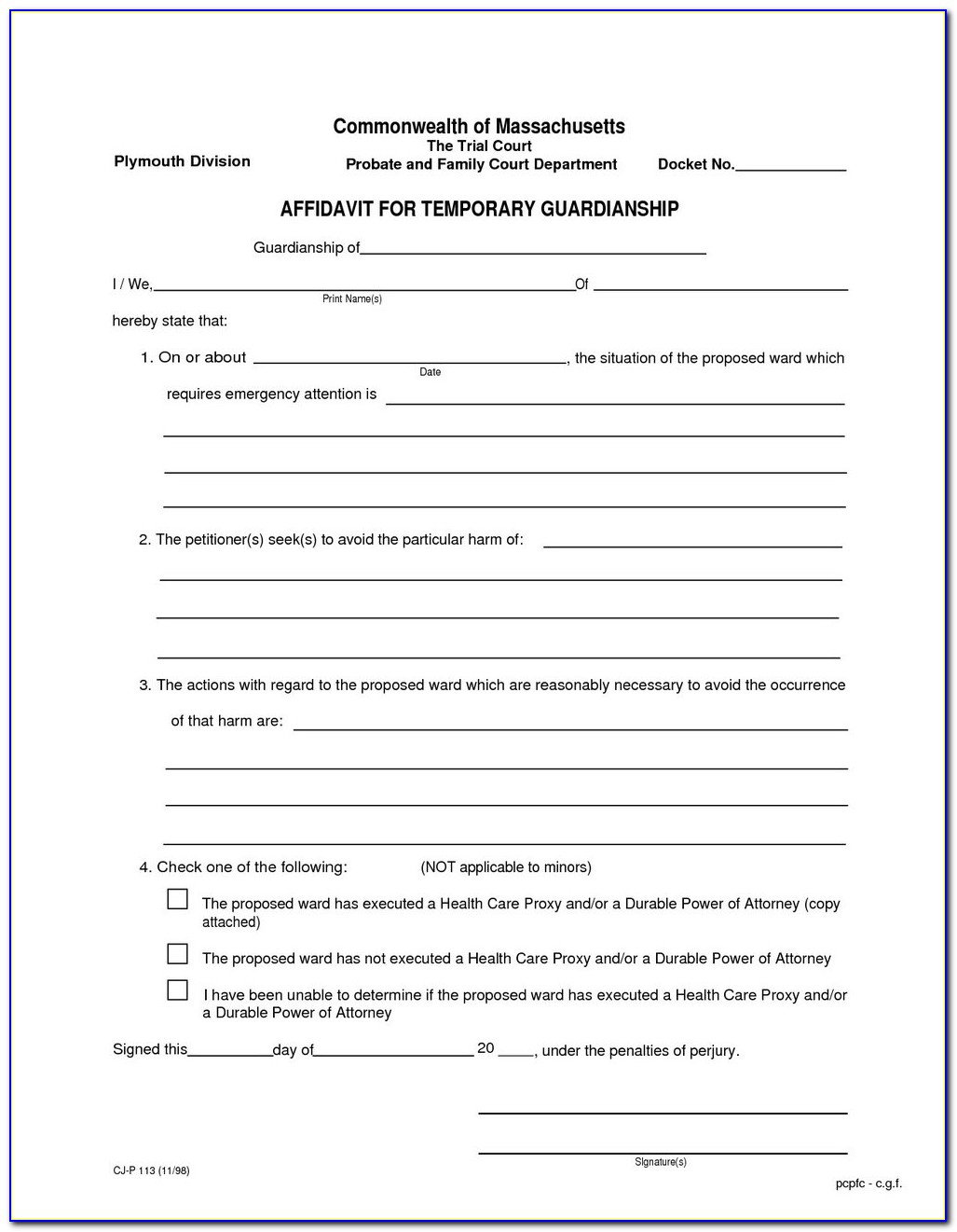 Free Legal Guardianship Forms Indiana