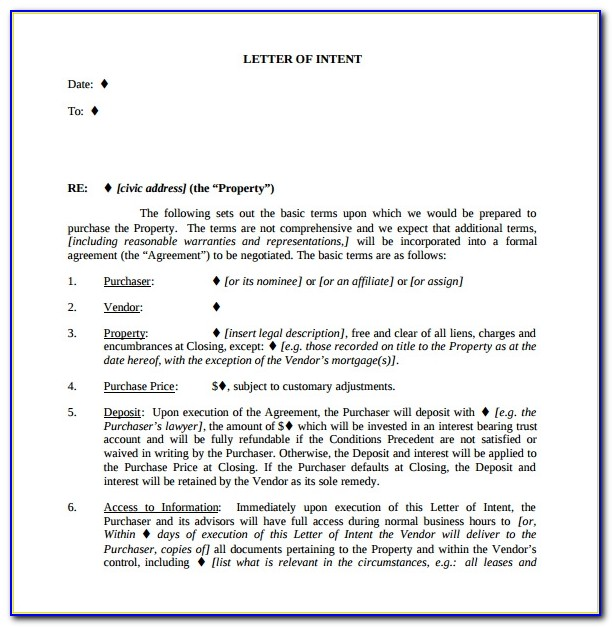 Free Letter Of Intent To Purchase Real Estate Template