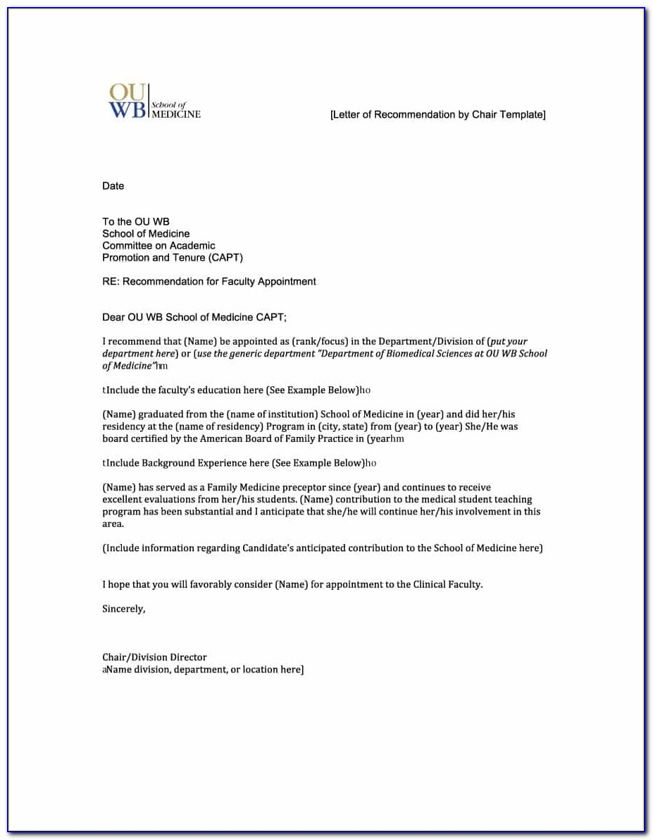 Free Letter Of Recommendation Template For Teachers