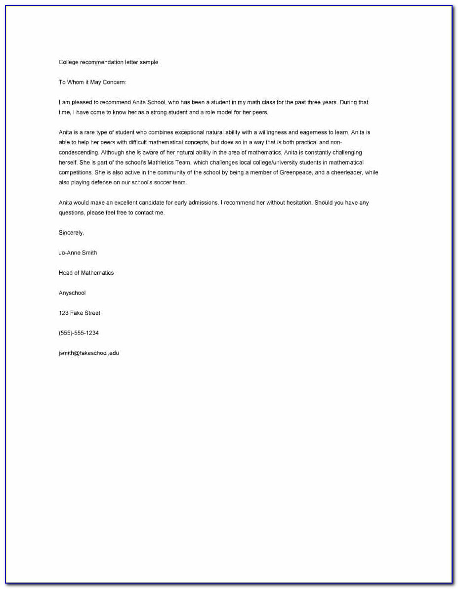 Free Letter Of Recommendation Templates Employment