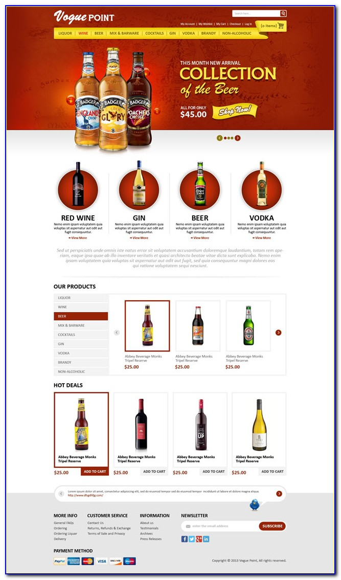 Free Liquor Store Website Template