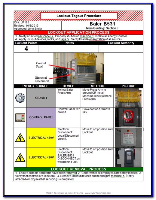 Free Lock Out Tag Out Procedure Template