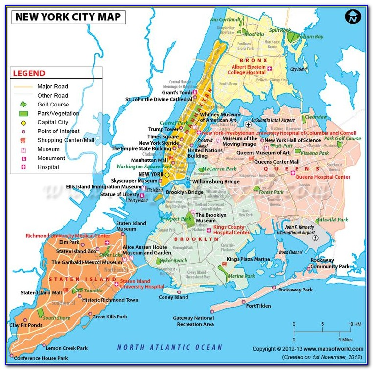 Free Map Of New York City Attractions