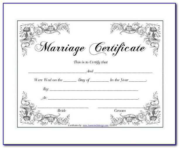 Free Marriage Certificate Template Word