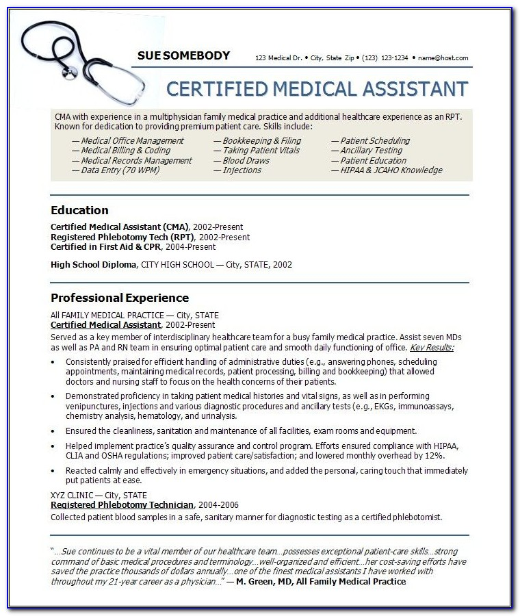 Medical Assistant Resumes Templates Vincegray2014