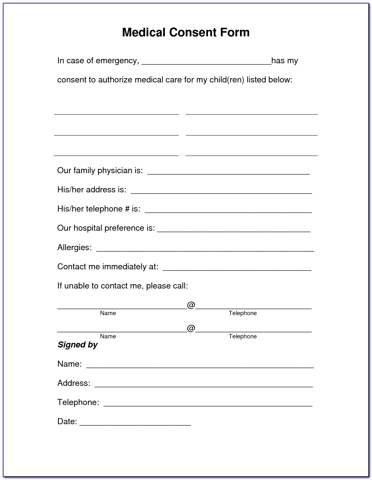 Free Medical Information Release Form Template