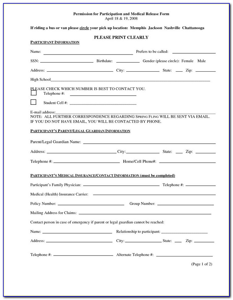Free Medical Information Release Form Template Vincegray2014
