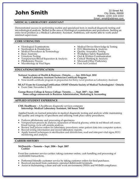 Free Medical Technologist Resume Template