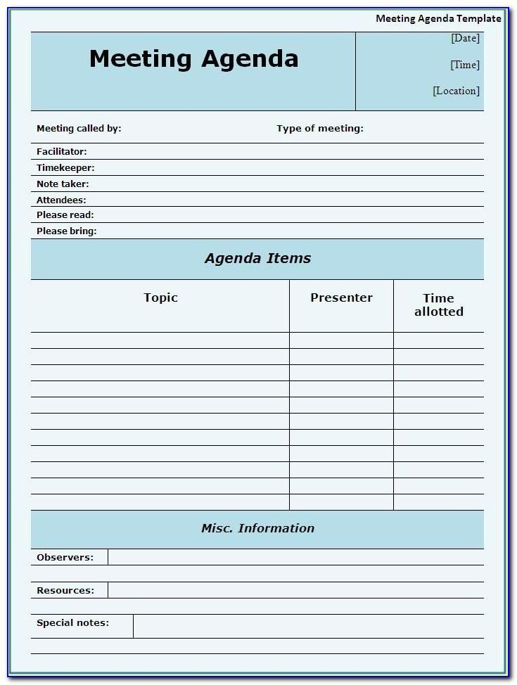 Free Meeting Agenda Templates For Word