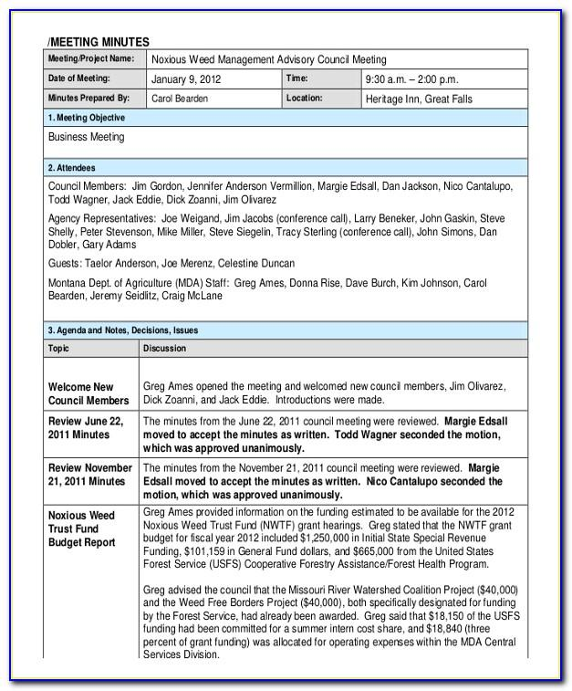 Free Meeting Minutes Template Excel Format