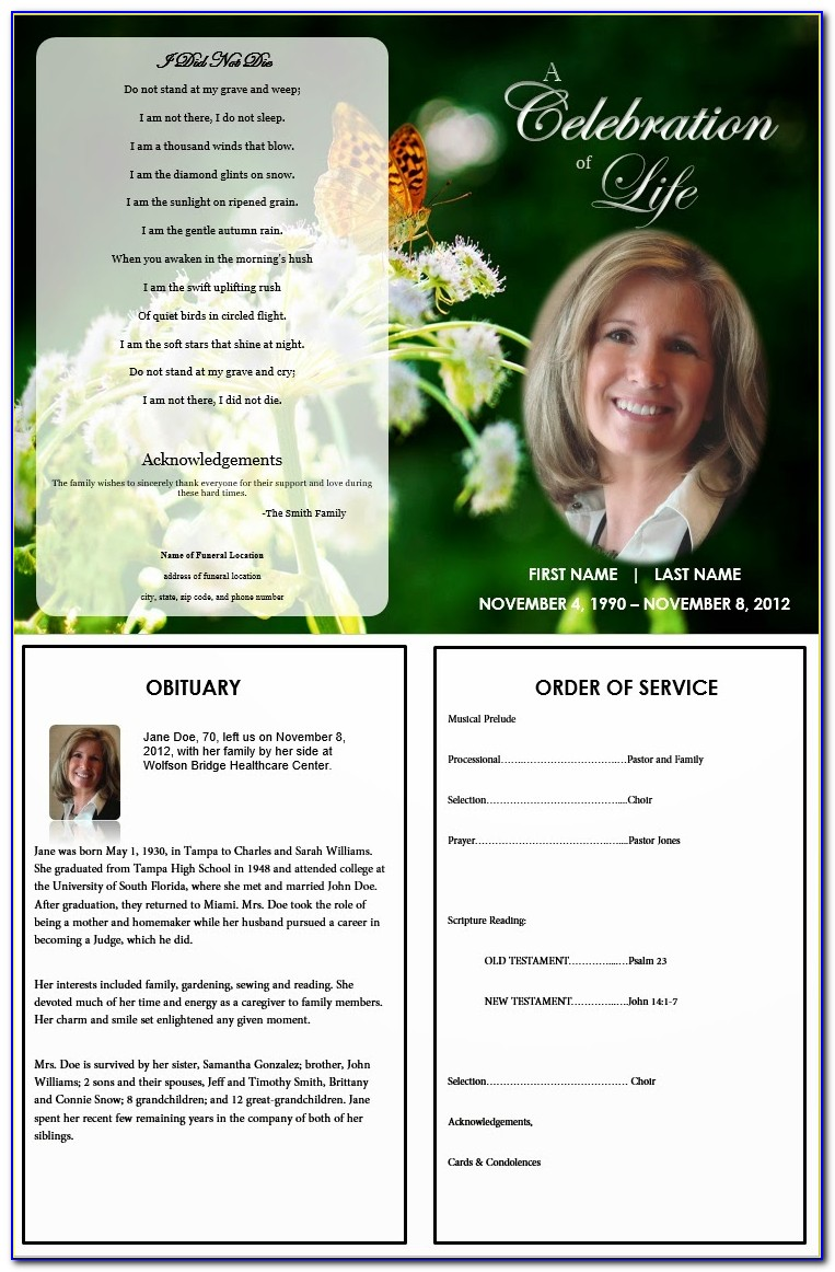 Free Memorial Program Template Word