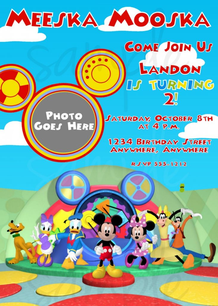 Free Mickey Mouse Clubhouse Birthday Invitation Template