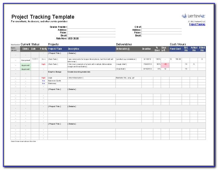Free Microsoft Excel Project Management Tracking Templates